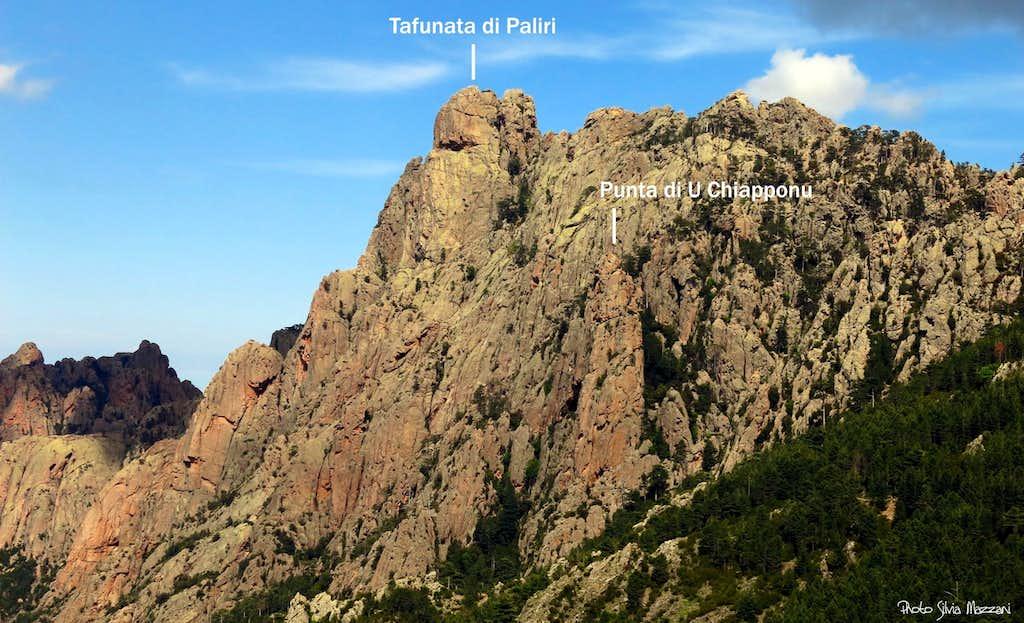 Tafunata di Paliri and Punta di U Chiapponu annotated view