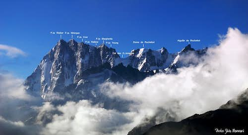 Grandes Jorasses and Rochefort annotated pano