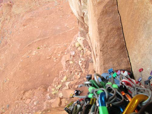 Looking down from partway up the 1st pitch of the North Chimney route, Castleton Tower