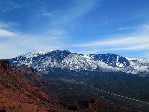 The La Sal Mountains seen from the base of Castleton Tower