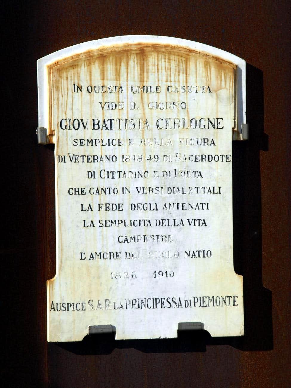Vert ... Commemorative plaque in Cerlogne Village 2015