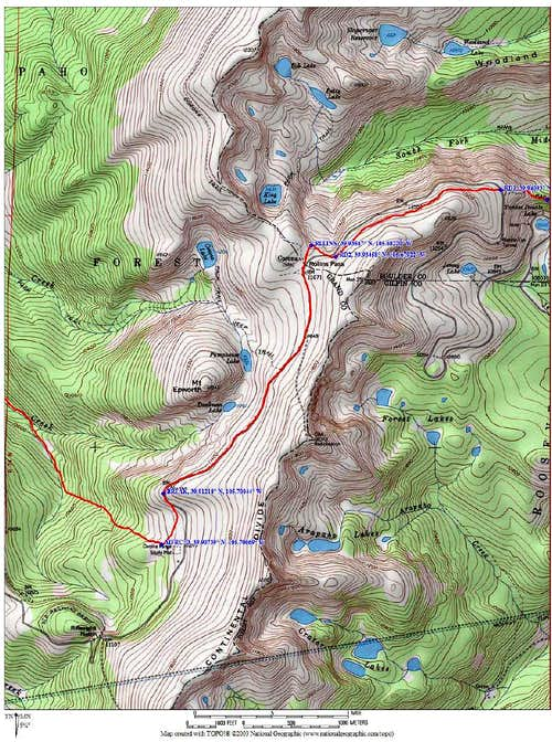map with waypoints