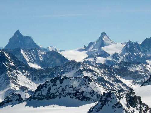 Dent d\'Herens and Matterhorn