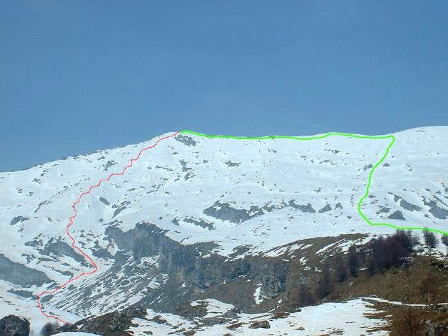 The ascent route (green line)...