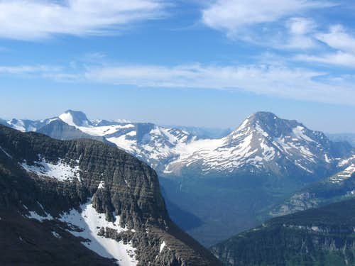 Citadel Mountain, Blackfoot Mountain, Peak 8884, & Mount Jackson With Blackfoot & Jackson Glaciers