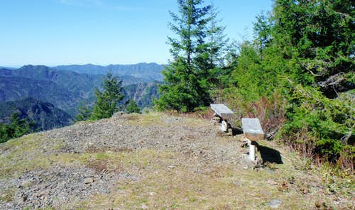 The benches on the summit