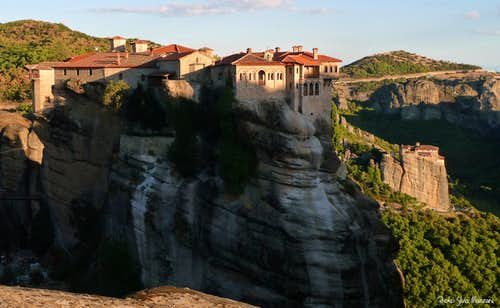 Meteora landscape at sundown