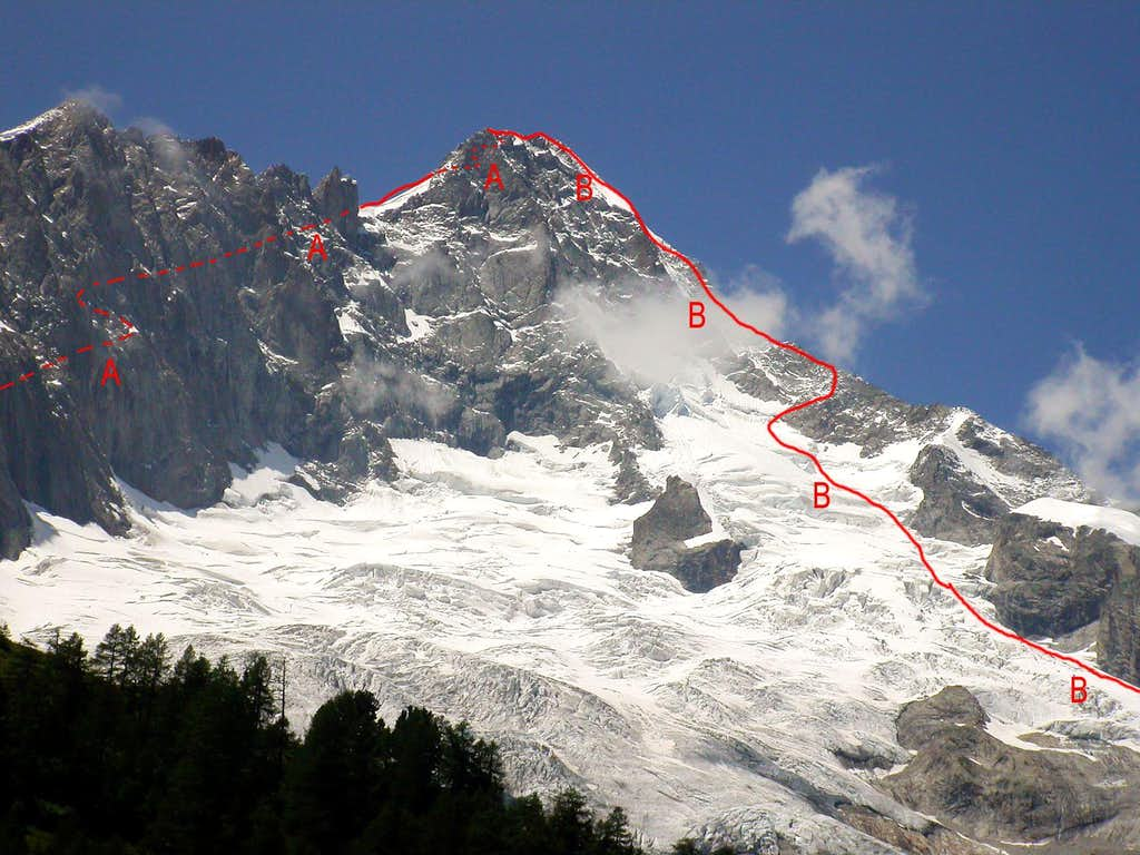 The main routes of Grandes Jorasses, Dent du Géant and other