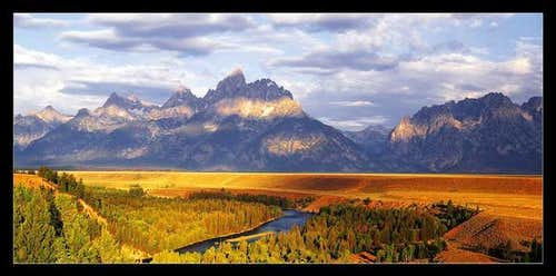 The Tetons in morning light...
