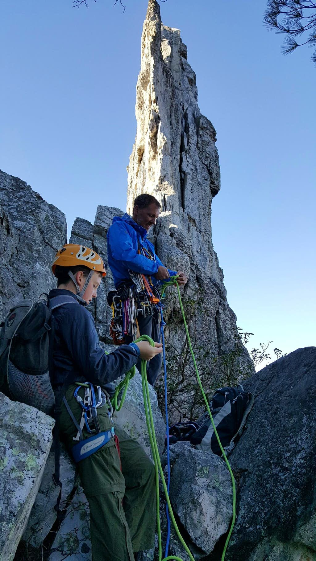 Gearing Up and Roping Up for Gunsight Notch to South Peak