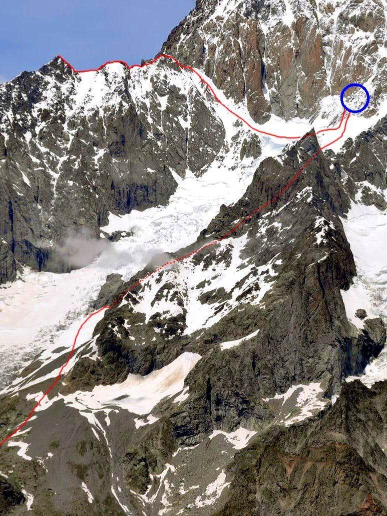 The main routes of Aiguilles des Glaciers, Aiguille J. Croux and other