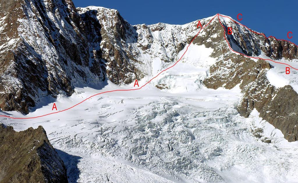 The main routes of Aiguilles des Glaciers, Aiguille J. Croux and other