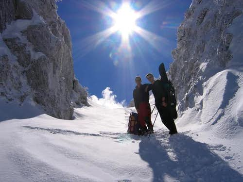 In the couloir on Rodica from...
