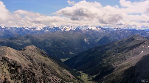 Piz Sesvenna summit view towards the Ortler Group