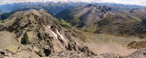 Looking down the Avigna Valley from Piz Sesvenna