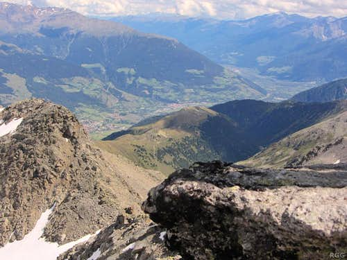 View down the Vinschgau valley from Piz Sesvenna