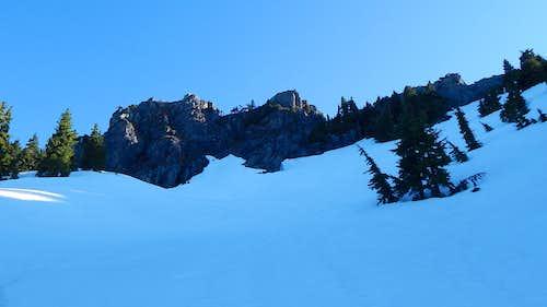 Hermans Peak summit block from 4900'