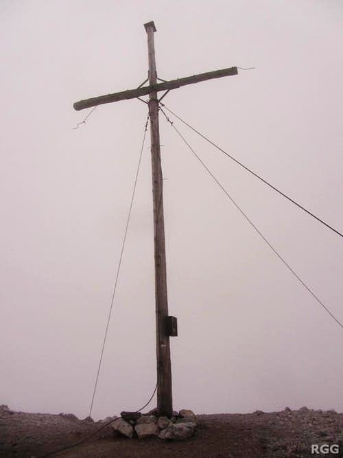 Piz Starlex summit cross (in thick fog)