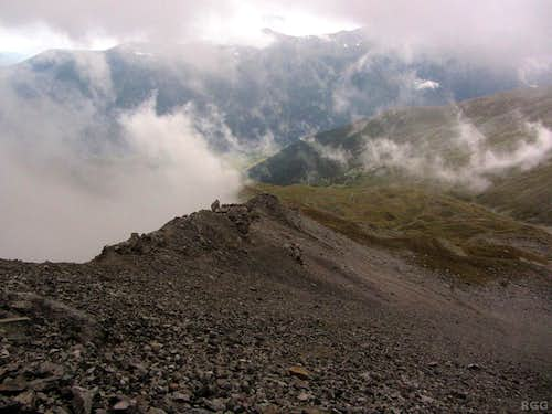 Below the clouds, sort of, as I'm descending Piz Starlex