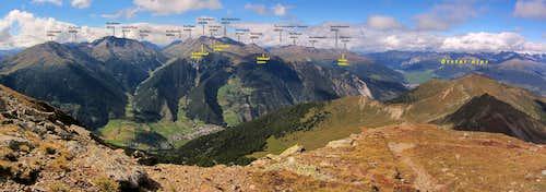 Labeled Sesvenna Group panorama from Piz Chavalatsch