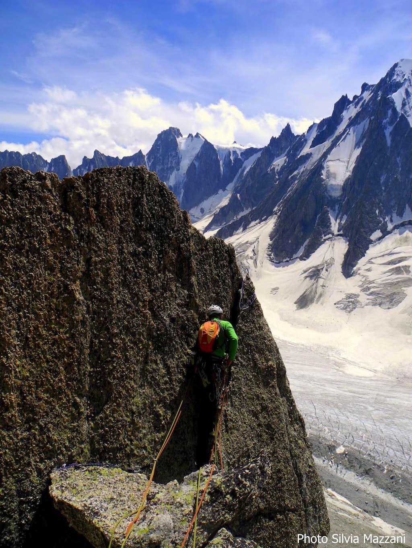 Last pitch short descent, Arete du Génépi