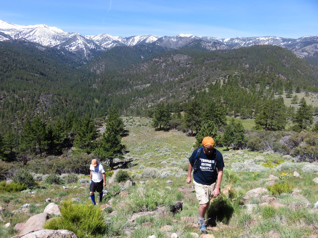 Heading up the meadow to the summit