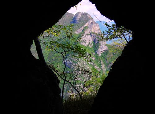 Cima Rocca seen through a WWI cave
