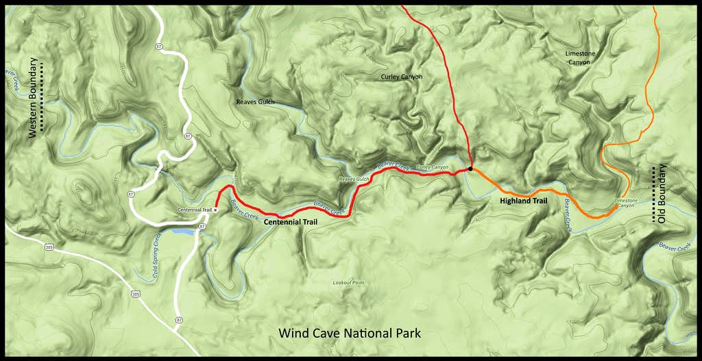 Beaver Creek Canyon Map for Wind Cave NP