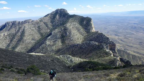 Making the ascent to Shumard Peak. Guadalupe Peak in the background