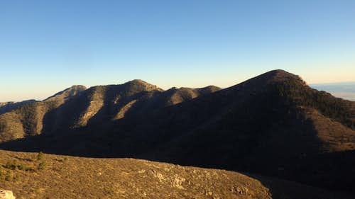 From right to left: Bartlett, Shumard and Guadalupe Peak in the distance