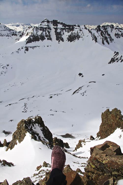 View down of one of the couloirs