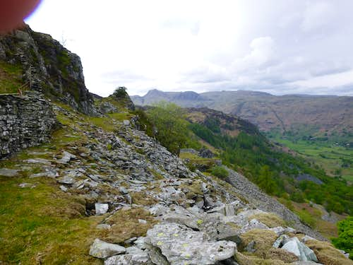 Abandoned quarry buildings overlook Great Langdale