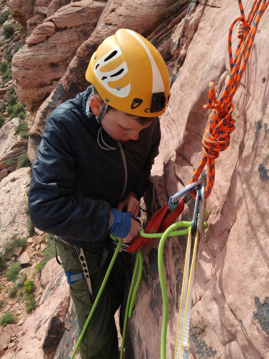 Jack Getting Ready to Belay Me from the P1 Anchor on Physical Graffiti