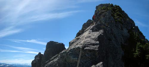 Rappelling the class 4 step on Spire Mountain
