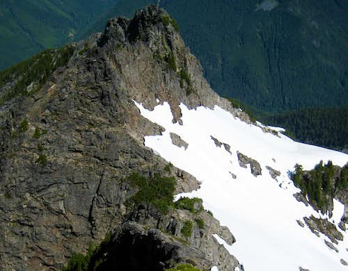 Looking down Spire Mountain's NW Ridge from the false summit