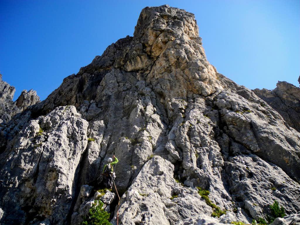 Me starting Guglia del Rifugio summit wall
