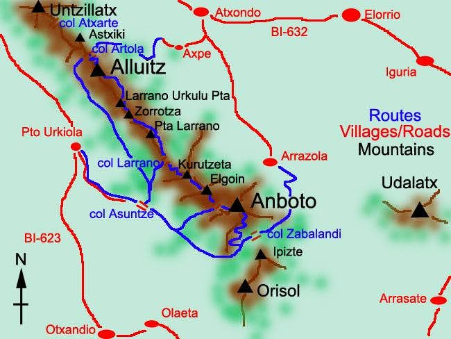 Sketch of the routes to...