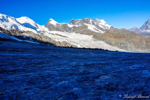 The Grenzglacier with Castor, Pollux and Breithorn behind