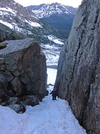The cleft in the headwall below Ice Mountain