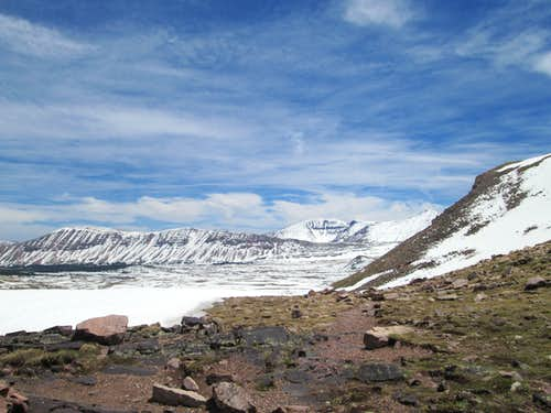 The view east from Gunsight Pass, on the approach to Kings Peak, Uinta Range, Utah