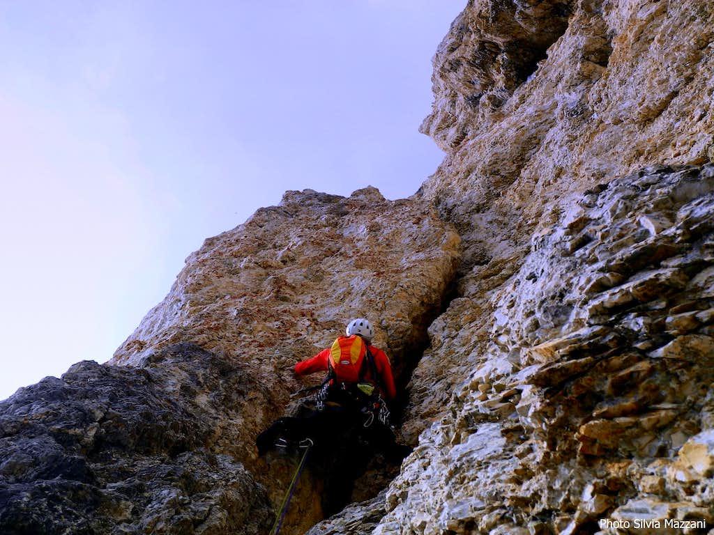Dibona yellow crack, Torre Grande di Falzarego