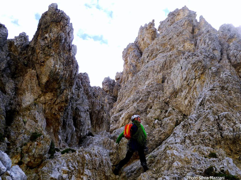 Downclimb on Torre Grande di Falzarego