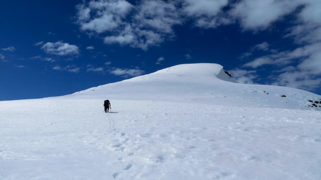 Looking to the summit of Taiya Peak
