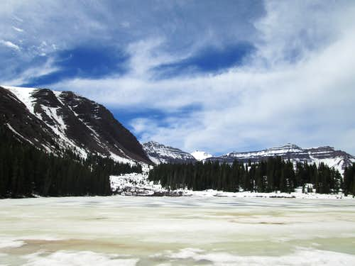 The still frozen Dollar Lake, on the approach to Kings Peak