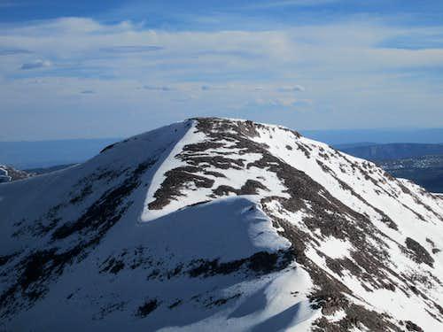 Closeup of South Kings Peak seen from the summit of Kings Peak