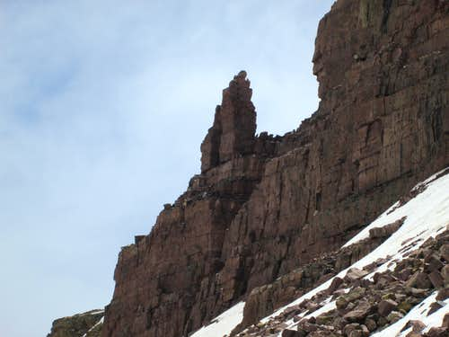 Jagged rock formation on the east side of West Gunsight Peak, Uinta Range, Utah