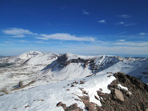 Looking south from the summit of Kings Peak with Mount Emmons on the far left
