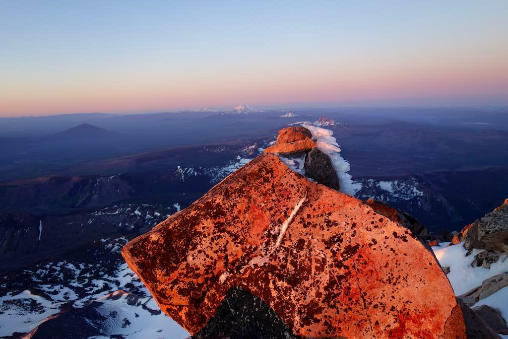 Mt Jefferson Rock Formation at Sunrise