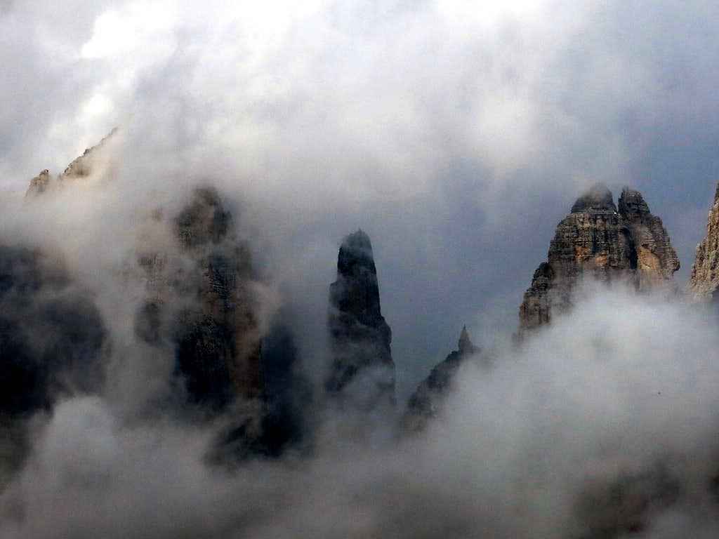 Campanile Basso di Brenta: close-up amongst the clouds