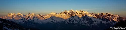 Monte Rosa & Mischabel Panorama at sunrise